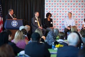 Dr. Ender moderates a panel featuring U.S. Education Secretary Arne Duncan