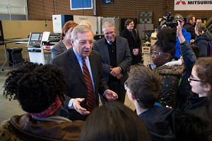 U.S. Senator Dick Durbin tours Harper College's advanced manufacturing lab and speaks with elementary students who were on campus for a tour