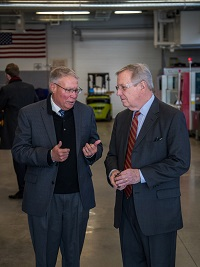 Harper College President Ken Ender and U.S. Senator Dick Durbin speak