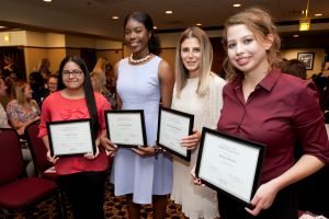 HOPE Giving Circle scholarship recipients Ariana Herrera, Sol Akinola, Alex Aleksandrov and Aleska Schwartz