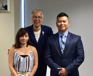 Ilce Perez, left, with Toni Preckwinkle and another essay winner