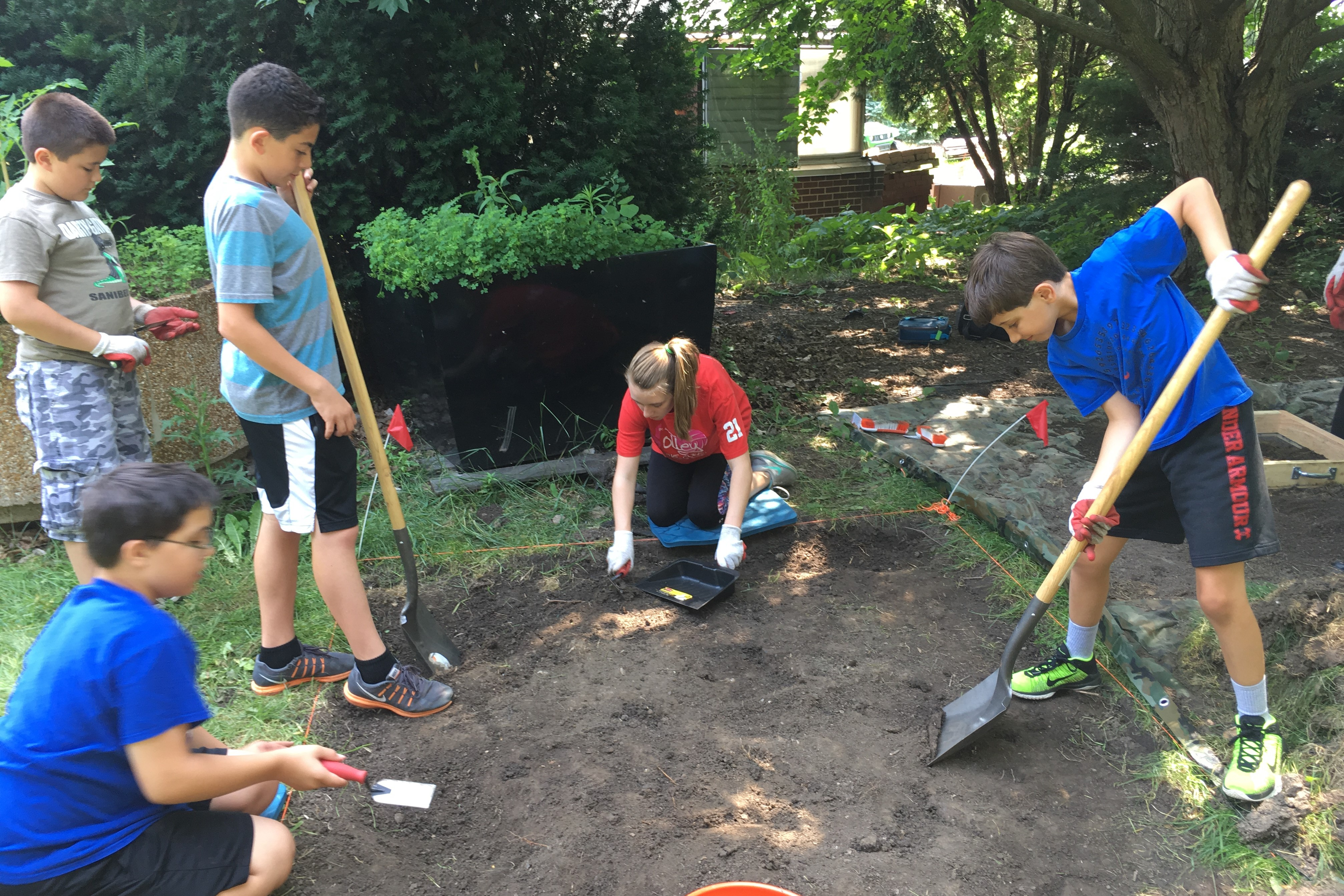 InZone campers on a digging excursion