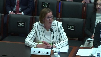 Provost Judy Marwick testifies at the House Committee on Education and Labor