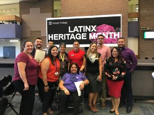 Harper students, staff and faculty at the Latinx Heritage Month kickoff
