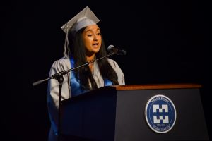 Marwil Chirinos addresses her fellow HSE graduates
