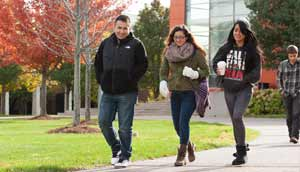 Harper College students walk through campus