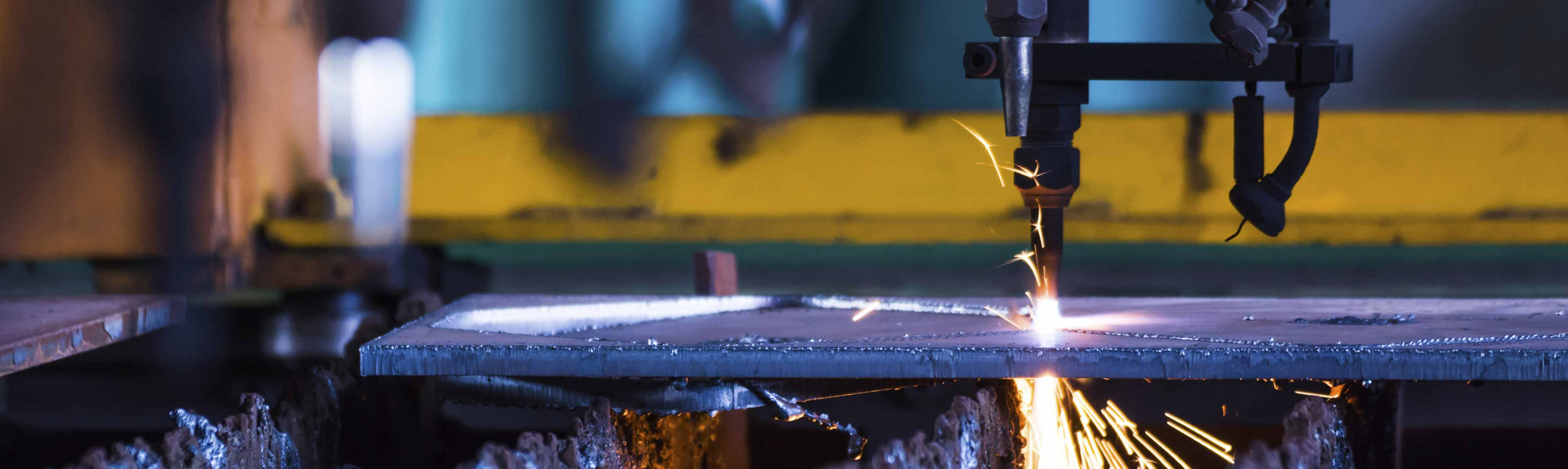 Welding machinery being used