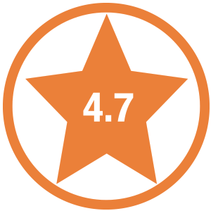Star shape with the number 4.7 in side