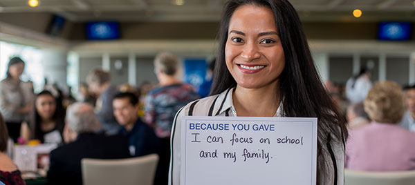 "Scholarship recipient: ""Because you gave, I can focus on school and my family."""
