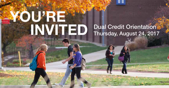 Students walking on campus. You're Invited. Dual Credit Orientation. August 24.