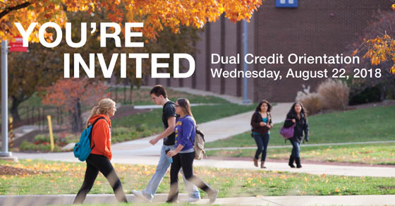 Students walking on campus. You're Invited. Dual Credit Orientation. August 22.