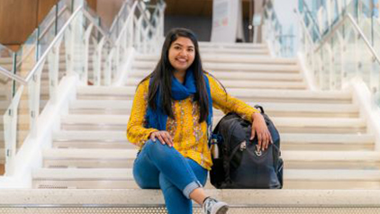 Meha Patel on the Harper library steps