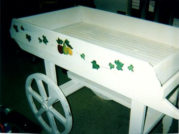 white wagon cart with a painter fruit pattern