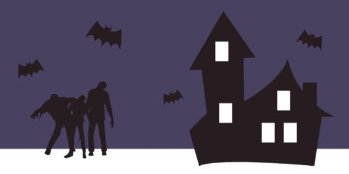 cartoon image of zombies, bats, and haunted house