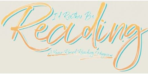 Harper College Library's I'd Rather Be Reading logo