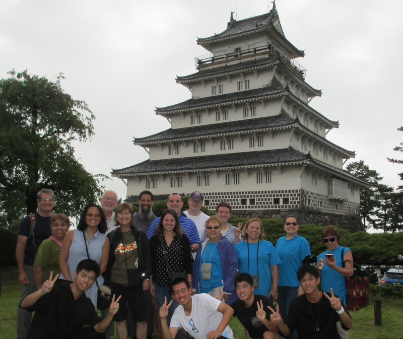 Group outside Japanese castle outside Nagasaki