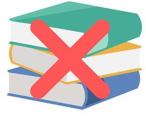 cartoon image of a stack of books with a red x in the middle