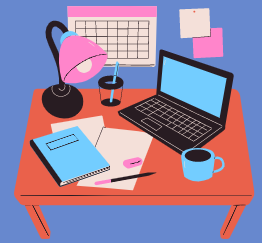 Cartoon image of a desk with a laptop, writing instruments, paper, calendar, lamp, and cup of coffee.