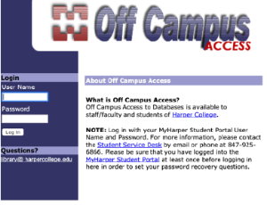 picture of off campus login for Harper College library