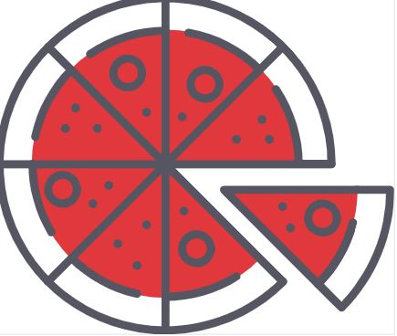 cartoon image of a pizza with one piece coming off
