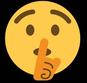 smiley face emoji with finger to mouth for shushing action