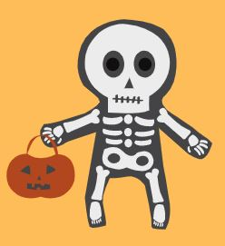Cartoon image of skeleton with pumpkin trick or treat bag