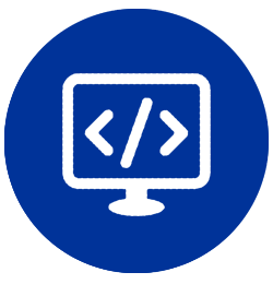 Code on computer screen icon
