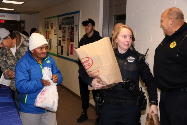 Police Officers food distribution
