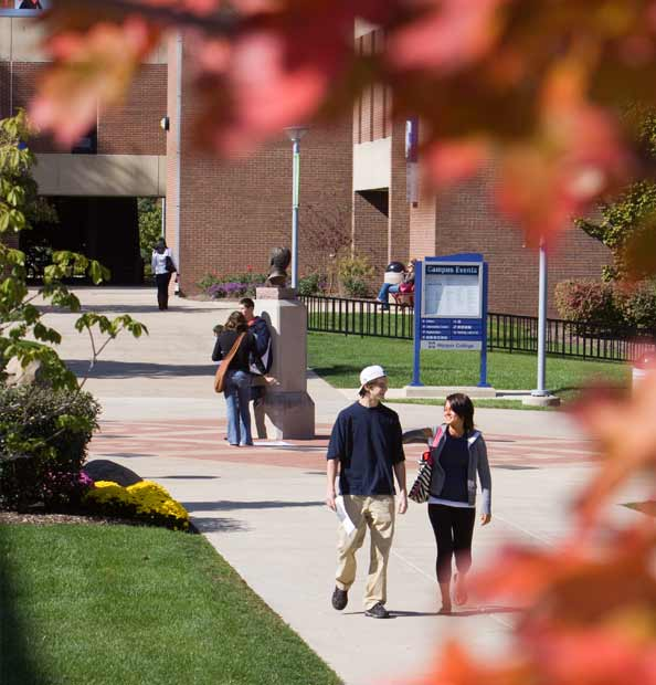 Fall orientation, students walking in the quad.