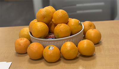 Photo of oranges in a bowl.