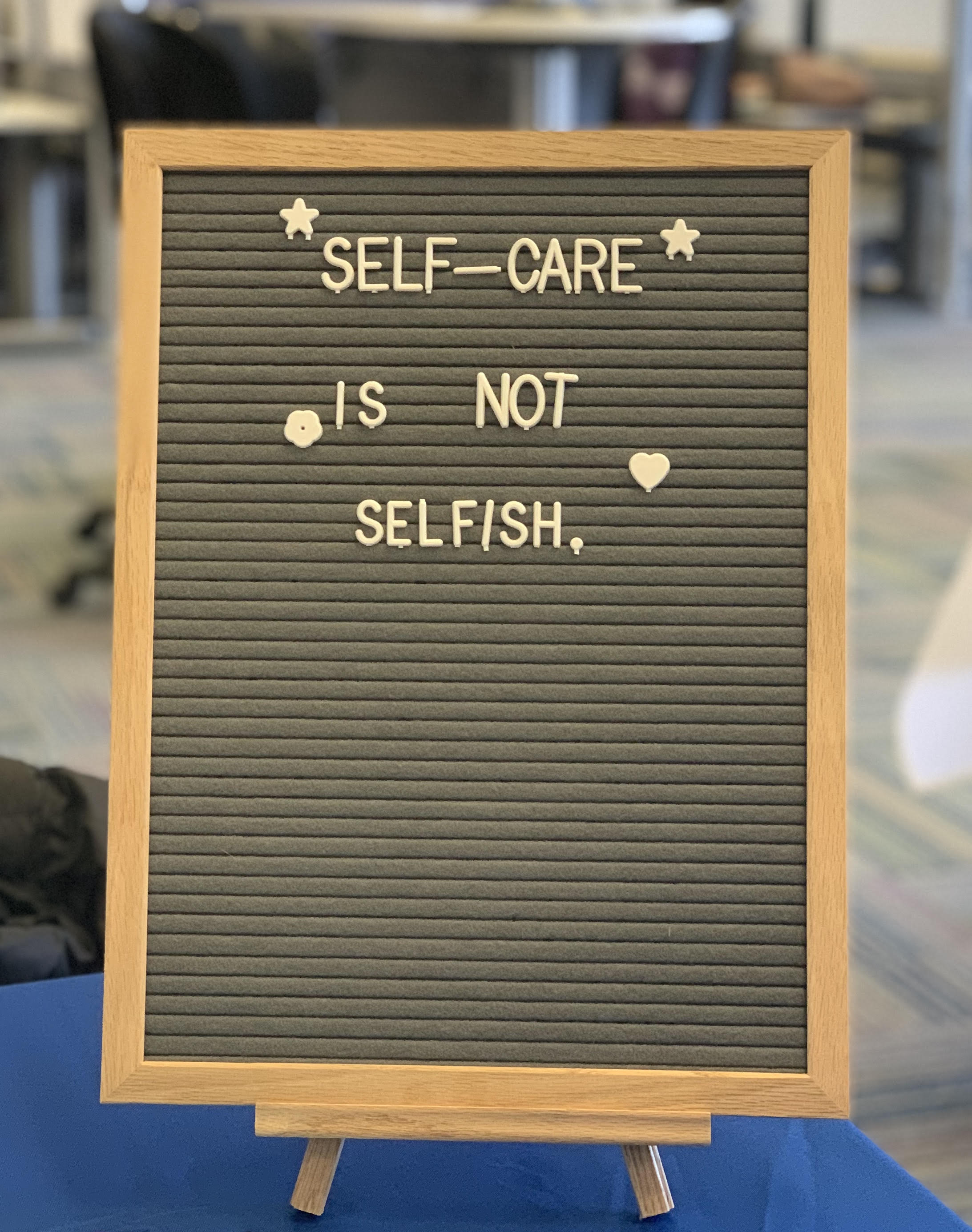 Photo of a letter board with the phrase,