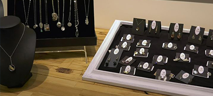 Jewelry on display at Studio V