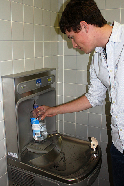 Using water bottle filling station
